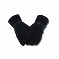 Перчатки флисовые, утепленные, с фиксатором на запястье, цвет черный