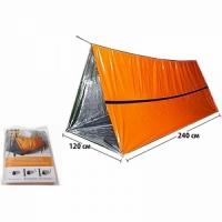 Палатка-укрытие зимняя, аварийная,алюм. слой,сохраняет до 90%тепла тела,240*120 см, цв. оранжевый