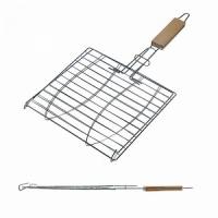 Решетка гриль FORSTER, 24*24*50 см, на 2 рыбы, дерев. ручка (16120-2) (4)