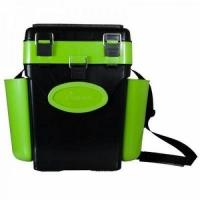 Ящик зимний HELIOS FishBox В40*Ш31(43 с уч.нав.карм.)*Г23, 10л, 2 заглушки,2 карм.,ремень, зеленый
