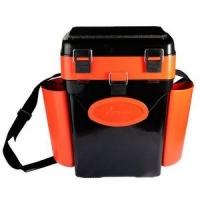 Ящик зимний HELIOS FishBox В40*Ш31(43 с уч.нав.карм.)*Г23, 10л, 2 заглушки,2 карм.,ремень, оранж.