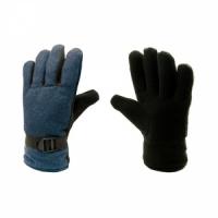Перчатки, ткань сукно, ладонь флис, подкладка искусственный мех, фиксатор на запястье, цв. синий