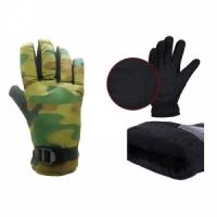 Перчатки водоот. материал, ладонь Anti-slip, подкладка искусственный мех, с фиксатором, цвет КМФ