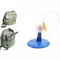 Жерлица на подставке d 200мм, катушка d 90мм, флажок,оснащ.тройн,в квадр. сумке, цв. синий (10шт/уп)