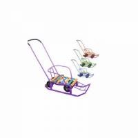 Санки мобильные Тяни-Толкай детские, с колесами,страховочный ремень (ДхШхВ) 875х290х180