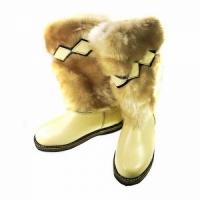 Унты женские, бежевый мех, бежевая кожа, войлочная подошва, размер 37