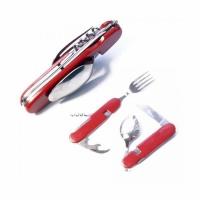 Набор походный раскл. (5 предм) вилка, нож, ложка, откр., штопор, руч. пласт. красн. (106)