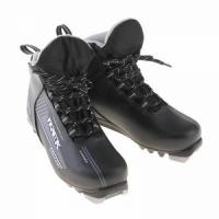 Ботинки лыжные MOTOR TREK Blazzer NNN, иск. кожа ( черный, лого серый) р.34