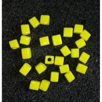 Бусины рыболовные Сырный Кубик, d 3мм, цв желтый (25 шт/уп)