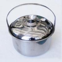 Котелок походный ЛЮКС, с крышкой, 1,2л, 16см, нержавеющая сталь (60) (DU-1)