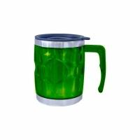 Термокружка, пластик, с крышкой, с поильником, 400мл, цвет зеленый (078-А)