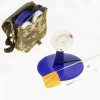 Жерлица ICE FISHING Набор в сумке (кл-н) - d200мм., кат. - 85мм, ОСНАЩЕННАЯ ДВОЙНИКОМ (10шт/в сумке)