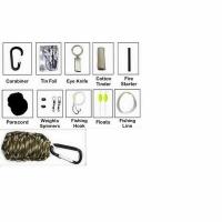 Набор для выживания - карабин, фольга, нож, огниво, рыб. крючки, поплавки, леска, трут, вертлюги (YD-5)
