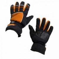 Перчатки мужские, водонепр. ткань, ладонь-кожа, фиксатор на запястье, -20, цвет черно-оранжевые