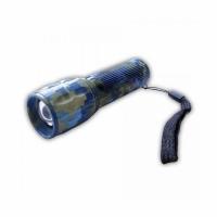 Фонарь FLASLIGHT LED, компакт. 10см,, ZOOM., алюм. корпус, цв. пиксель КМФ, на шнурке (15)
